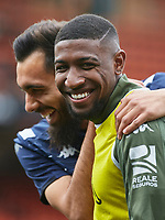29th February 2020; Mestalla, Valencia, Spain; La Liga Football,Valencia versus Real Betis; Emerson of Real Bets and Borja Iglesias of Real Betis share a joke prior to the game