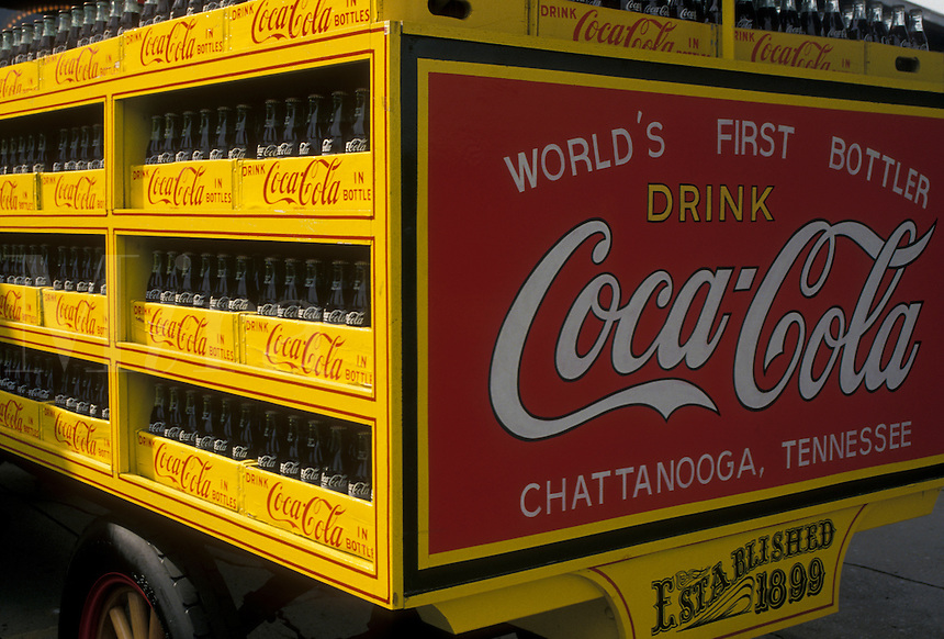 AJ4146, Coca-Cola, Chattanooga Choo Choo, Chattanooga, Tennessee, A yellow and red antique Coca-Cola truck displayed at Chattanooga Choo Choo and Terminal Station in Chattanooga in the state of Tennessee.