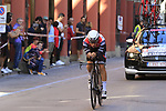 Gianluca Brambilla (ITA) Trek-Segafredo in action during Stage 1 of the 2019 Giro d'Italia, an individual time trial running 8km from Bologna to the Sanctuary of San Luca, Bologna, Italy. 11th May 2019.<br /> Picture: Eoin Clarke | Cyclefile<br /> <br /> All photos usage must carry mandatory copyright credit (© Cyclefile | Eoin Clarke)