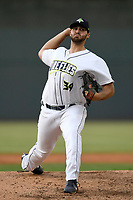 Relief pitcher Joseph Zanghi (39) of the Columbia Fireflies delivers a pitch in game one of a doubleheader against the Rome Braves on Saturday, August 19, 2017, at Spirit Communications Park in Columbia, South Carolina. Rome won, 8-2. (Tom Priddy/Four Seam Images)
