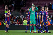 11th January 2018, Camp Nou, Barcelona, Spain; Copa del Rey football, round of 16, 2nd leg, Barcelona versus Celta Vigo; The FC Barcelona players sapplaud their supporters after the match