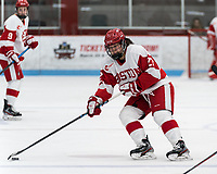 BOSTON, MA - FEBRUARY 16: Nara Elia #27 of Boston University looks to pass during a game between University of New Hampshire and Boston University at Walter Brown Arena on February 16, 2020 in Boston, Massachusetts.