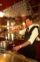 May 1st 2003, Montreal (Qc) CANADA<br /> Barman of L EXPRESS lengendary restaurant on Saint Denis Street in Montreal.<br /> For more than 20 years  L EXPRESS has been a hang out for local artist who enjoy the French cuisine and the tradional Paris service.<br /> <br /> Photo : (c) 2003 Pierre Roussel - Images Distribution