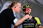 Adam Yates (GBR) Mitchelton-Scott at sign on before Stage 8 of the Criterium du Dauphine 2019, running 113.5km from Cluses to Champery, Switzerland. 16th June 2019.<br /> Picture: ASO/Alex Broadway | Cyclefile<br /> All photos usage must carry mandatory copyright credit (© Cyclefile | ASO/Alex Broadway)