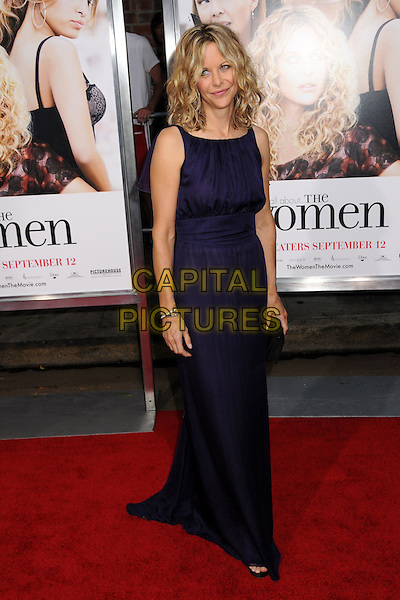 "MEG RYAN.""The Women"" Los Angeles Premiere at Mann's Village Theatre, Westwood, California, USA..September 4th, 2008.full length purple sleeveless dress black clutch bag.CAP/ADM/BP.©Byron Purvis/AdMedia/Capital Pictures."