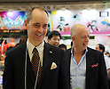 June 9, 2016, Tokyo, Japan - Japanese toy maker Tomy president H.G. Meij (L) smile with Toysrus Japan president Mark Godard (R) as they inspect latest toys of Tomy at the annual Tokyo Toy Show in Tokyo on Thursday, June 9, 2016. Some 160,000 people are expecting to visit the four-day toy trade show.   (Photo by Yoshio Tsunoda/AFLO) LWX -ytd-