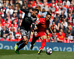 Sofiane Boufal of Southampton  in action with Nathaniel Clyne of Liverpool during the English Premier League match at Anfield Stadium, Liverpool. Picture date: May 7th 2017. Pic credit should read: Simon Bellis/Sportimage