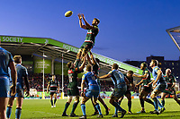 Mike Fitzgerald of Leicester Tigers wins the ball at a lineout. Aviva Premiership match, between Leicester Tigers and London Irish on January 6, 2018 at Welford Road in Leicester, England. Photo by: Patrick Khachfe / JMP