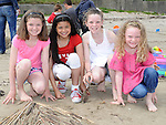 Cliodhna, Caoimhe and Taillte Cairns and Leyla McAreavey who took part in the annual sandcastle competition on Bettystown beach. Photo: Colin Bell/pressphotos.ie