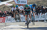 Gregor Muhlberger (AUS) Bora-Hansgrohe and Marc Soler (ESP) Movistar Team cross the finish line at the end of Stage 4 of the Volta Ciclista a Catalunya 2019 running 150.3km from Llanars (Vall De Camprodon) to La Molina (Alp), Spain. 28th March 2019.<br /> Picture: Colin Flockton | Cyclefile<br /> <br /> <br /> All photos usage must carry mandatory copyright credit (© Cyclefile | Colin Flockton)
