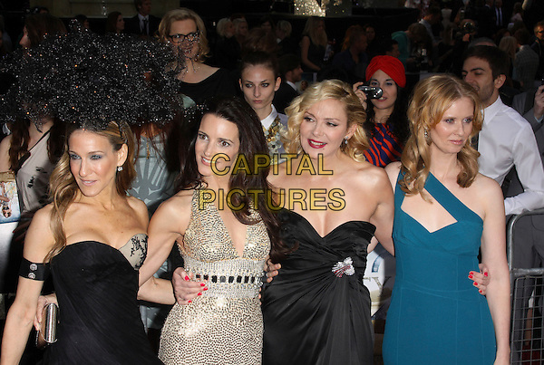 SARAH JESSICA PARKER, KRISTIN DAVIS, KIM CATTRALL & CYNTHIA NIXON .Arrivals to the 'Sex And The City 2' European Premiere at the Odeon, Leicester Square, London, England..May 27th, 2010 .half length length black strapless Alexander McQueen dress armband arm band Philip Treacy hat head piece gold sequined sequin blue teal one shoulder straps gem jewel encrusted embellished metallic sjp cast .CAP/AH.©Adam Houghton/Capital Pictures.