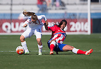 Frisco, TX - February 13, 2016: Costa Rica defeated Puerto Rico 9-0 at the CONCACAF Women's Olympic Qualifying Tournament in Toyota Stadium.