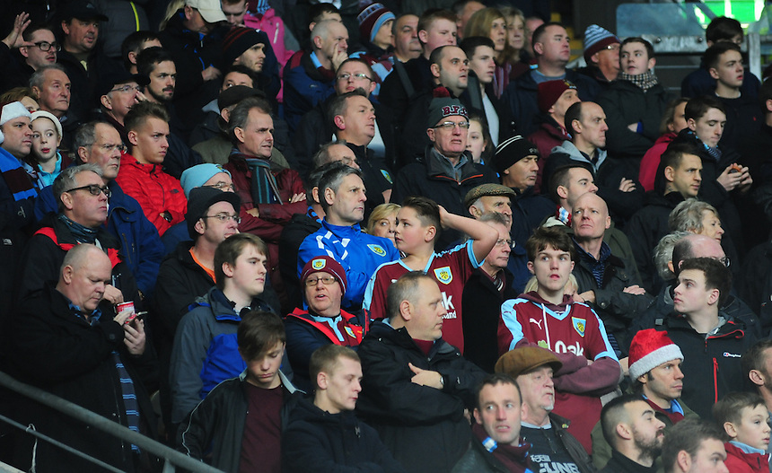 Burnley fans during the first half <br /> <br /> Photographer Chris Vaughan/CameraSport<br /> <br /> Football - The Football League Sky Bet Championship - Hull City v Burnley - Saturday 26th December 2015 - Kingston Communications Stadium - Hull<br /> <br /> &copy; CameraSport - 43 Linden Ave. Countesthorpe. Leicester. England. LE8 5PG - Tel: +44 (0) 116 277 4147 - admin@camerasport.com - www.camerasport.com