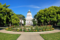 The California State Capitol Building from the Capitol Mall roundabout.