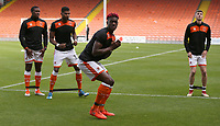 Blackpool's Armand Gnanduillet during the pre-match warm-up <br /> <br /> Photographer Stephen White/CameraSport<br /> <br /> The EFL Sky Bet League One - Blackpool v Rochdale - Saturday 6th October 2018 - Bloomfield Road - Blackpool<br /> <br /> World Copyright &copy; 2018 CameraSport. All rights reserved. 43 Linden Ave. Countesthorpe. Leicester. England. LE8 5PG - Tel: +44 (0) 116 277 4147 - admin@camerasport.com - www.camerasport.com