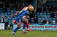 Fleetwood Town's Paddy Madden competing with Gillingham's Gabriel Zakuani<br /> <br /> Photographer Andrew Kearns/CameraSport<br /> <br /> The EFL Sky Bet League One - Gillingham v Fleetwood Town - Saturday 3rd November 2018 - Priestfield Stadium - Gillingham<br /> <br /> World Copyright &copy; 2018 CameraSport. All rights reserved. 43 Linden Ave. Countesthorpe. Leicester. England. LE8 5PG - Tel: +44 (0) 116 277 4147 - admin@camerasport.com - www.camerasport.com