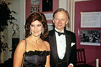 ***FILE PHOTO*** Tom Wolfe: Bonfire of the Vanities author dies aged 88<br /> <br /> American author and journalist Thomas Kennerly &quot;Tom&quot; Wolfe, Jr., right, and his wife, Sheila, left, arrive at the White House in Washington, DC for the State Dinner hosted by United States President Ronald Reagan and first lady Nancy Reagan honoring Prime Minister Margaret Thatcher of Great Britain at the White House in Washington, DC on November 16, 1988.<br />  <br /> CAP/MPI/CNP/RS<br /> &copy;RS/CNP/MPI/Capital Pictures