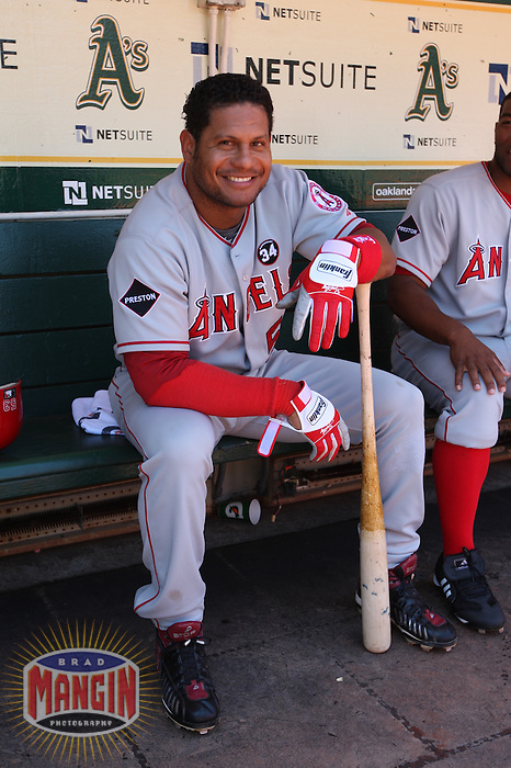 OAKLAND, CA - JULY 19:  Bobby Abreu #53 of the Los Angeles Angels of Anaheim gets ready in the dugout before the game against the Oakland Athletics at the Oakland-Alameda County Coliseum on July 19, 2009 in Oakland, California. Photo by Brad Mangin
