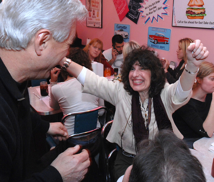 Joe Dombroski and Jamie Talan at the retirement Party for Ken Spencer and Joe Fariella held at the Cheeburger Cheeburger Restaurant in Plainview on Tuesday April 1, 2008. Photographs by Jim Peppler.