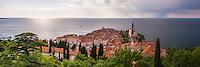 Panoramic photo of Piran and the Mediterranean Sea, seen from Piran Town Walls, Slovenian Istria, Slovenia, Europe