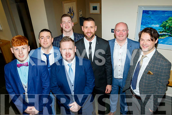 L-R Billy Lyons, Steven Goggin, Danny Maguire, Muiris Delaney, Dan Shanahan, guest speaker, who was a former Waterford senior hurler and 2007 hurler of the year, Noel O'Connor and David Leahy any the Causeway hurling club victory social in the Ballyroe Heights hotel, Tralee last Saturday night.