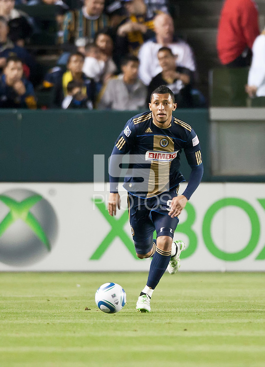 CARSON, CA – April 2, 2011: Philadelphia Union defender Carlos Valdes (5) during the match between LA Galaxy and Philadelphia Union at the Home Depot Center, March 26, 2011 in Carson, California. Final score LA Galaxy 1, Philadelphia Union 0.