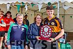 Sheila McGillicuddy and Pat Moynihan presents the Austin Stack captain Shane Bastible the Niall McGillicuddy memorial football blitz  shiield in Killarney on Saturday