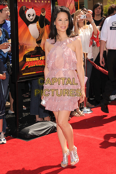 """LUCY LIU.""""Kung Fu Panda"""" Los Angeles Premiere at Grauman's Chinese Theatre, Hollywood, California, USA..June 1st, 2008.full length pink sheer layers layered dress silver shoes sparkly ruffles.CAP/ADM/BP.©Byron Purvis/AdMedia/Capital Pictures."""