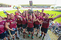 Monday 22nd April 2019 | 2019 Towns Cup Final<br /> <br /> Enniskillen captain Ryan Cathcart and his team mates celebrate with the Ulster Towns Cup after they defeated  Ballyclare at Kingspan Stadium, Ravenhill Park, Belfast. Northern Ireland. Photo John Dickson/Dicksondigital