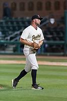 Visalia Rawhide relief pitcher Matt Brill (25) during a California League game against the Rancho Cucamonga Quakes on April 9, 2019 in Visalia, California. Visalia defeated Rancho Cucamonga 8-5. (Zachary Lucy/Four Seam Images)