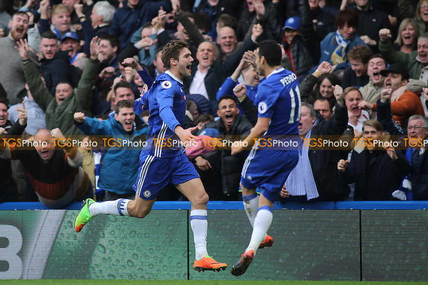 Marcos Alonso celebrates scoring Chelsea's opening goal during Chelsea vs Arsenal, Premier League Football at Stamford Bridge on 4th February 2017