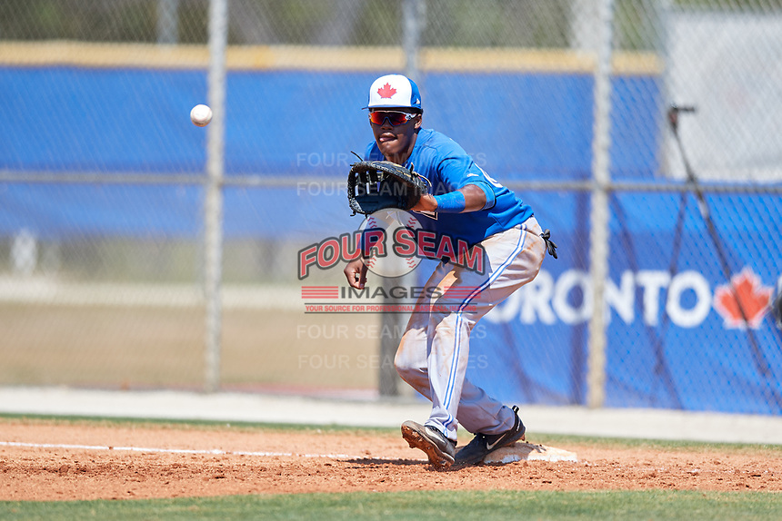 Toronto Blue Jays Joseph Reyes (63) during a Minor League Spring Training game against the New York Yankees on March 18, 2018 at Englebert Complex in Dunedin, Florida.  (Mike Janes/Four Seam Images)