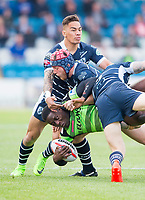 Picture by Allan McKenzie/SWpix.com - 11/05/2017 - Rugby League - Ladbrokes Challenge Cup - Featherstone Rovers v Halifax RLFC - The LD Nutrition Stadium, Featherstone, England  - Halifax's Rob Worrincy is tackled by  Featherstone's Luke Cooper.