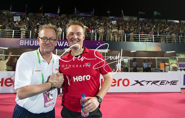 BHUBANESWAR (India) -  Hero Champions Trophy hockey men. Final : Germany and Pakistan.  Umpire Coen van Bunge with umpires officer, Philip Schellekens .   Photo KOEN SUYK