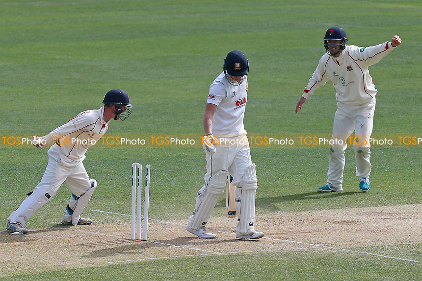 Tom Westley of Essex is bowled out by Stephen Parry during Essex CCC vs Lancashire CCC, Specsavers County Championship Division 1 Cricket at The Cloudfm County Ground on 10th April 2017