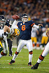 Chicago Bears quarterback Jay Cutler (6) throws the ball during an NFL football game against the Green Bay Packers in Chicago, Illinois on September 27, 2010. The Bears won the game 20-17. (AP Photo/David Stluka)