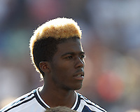 LA Galaxy forward Gyasi Zardes (29). In a Major League Soccer (MLS) match, the New England Revolution (blue) defeated LA Galaxy (white), 5-0, at Gillette Stadium on June 2, 2013.