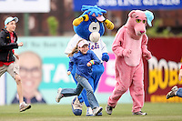 May 3, 2009:  Mascots for the Binghamton Mets, Eastern League Class-AA affiliate of the New York Mets, run in the outfield with fans during a game at the NYSEG Stadium in Binghamton, NY.  Photo by:  Mike Janes/Four Seam Images
