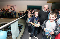 NO FEE PICTURES.29/11/11 Fans queue to meet Jeff Kinney, author of Wimpy Kids books in Dublin to celebrate the launch of Diary of a Wimpy Kid: Cabin Fever at a one off event held at Liberty Hall Theatre in association with Eason. Pictures:Arthur Carron/Collins