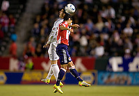 Chivas USA defender Mariano Trujillo battles with DC United midfielder Santino Quaranta. CD Chivas USA beat DC United 1-0 at Home Depot Center stadium in Carson, California on Sunday August 29, 2010.