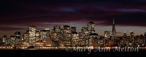 A panoramic photograph of San Francisco taken from Treasure Island just after sunset.