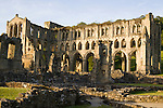 The ruins of the Rievaulx abbey in the United Kingdom. Located near Helmsley in the North York Moors, Rievaulx is a former Cistercian abbey.