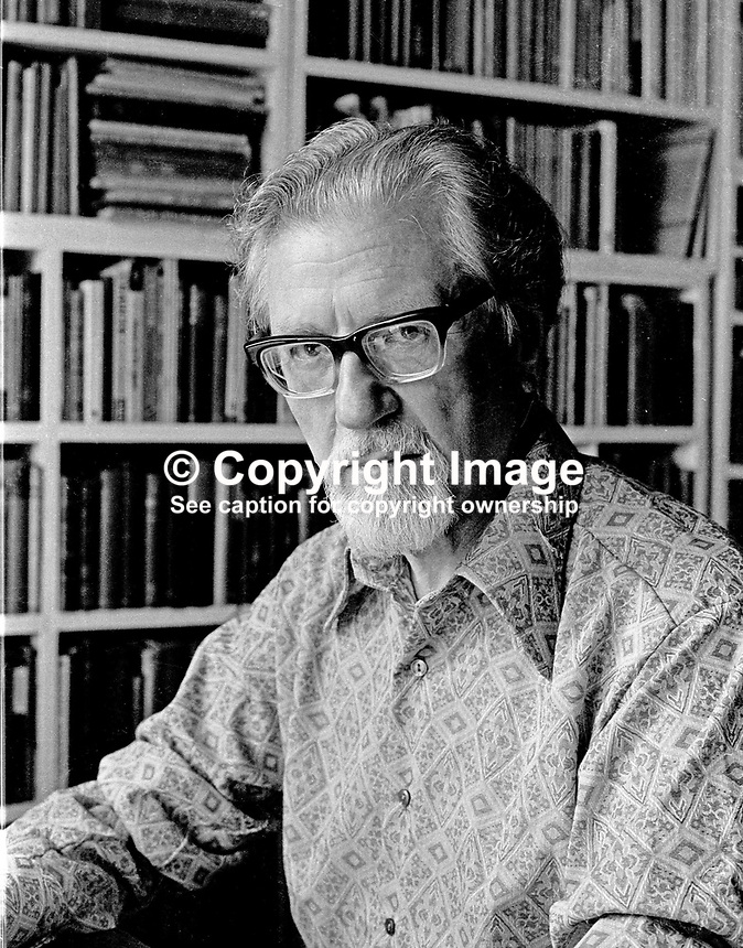 John Hewitt, poet, born 28 October 1907, died 22 June 1987, Belfast, N Ireland, UK, pictured in his home at Stockman's Lane, Belfast. 197306403b.<br />