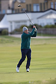 2nd October 2017, The Old Course, St Andrews, Scotland; Alfred Dunhill Links Championship golf practice round; Dermot Desmond, largest individual shareholder in Celtic FC tees off on the third hole of the Old Course, St Andrews during a.practice round before the Alfred Dunhill Links Championship