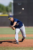 Milwaukee Brewers pitcher Cody Beckman (75) follows through on his delivery during an Instructional League game against the San Diego Padres on September 27, 2017 at Peoria Sports Complex in Peoria, Arizona. (Zachary Lucy/Four Seam Images)
