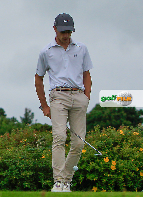 Quim Vidal on the 18th tee during R1 of the 2016 Connacht U18 Boys Open, played at Galway Golf Club, Galway, Galway, Ireland. 05/07/2016. <br /> Picture: Thos Caffrey | Golffile<br /> <br /> All photos usage must carry mandatory copyright credit   (&copy; Golffile | Thos Caffrey)