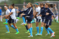 Piscataway, NJ, May 13, 2016. Sky Blue players go through their warmups prior to their game against the Boston Breakers.  Sky Blue FC defeated the Boston Breakers, 1-0, in a National Women's Soccer League (NWSL) match at Yurcak Field.