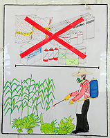 Community health poster warning farmworkers of the dangers of spraying crops with chemicals.<br />