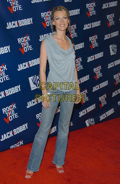 NATALIE ZEA.Rock The Vote event at the Steven J. Ross Theater on the Warner Bros. Lot in Burbank, California.September 29, 2004.full length, jeans, denim, grey, gray sleeveless top.www.capitalpictures.com.sales@capitalpictures.com.© Capital Pictures.