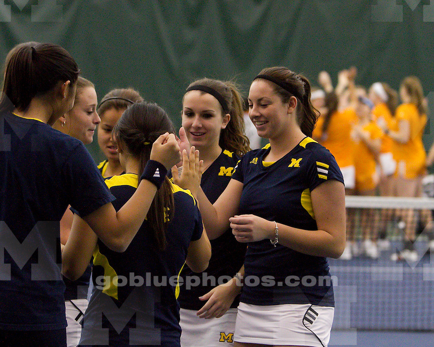 The University of Michigan women's tennis team beat Tennessee, 4-3, at the Varsity Tennis Center in Ann Arbor, Mich., on February 1, 2013.